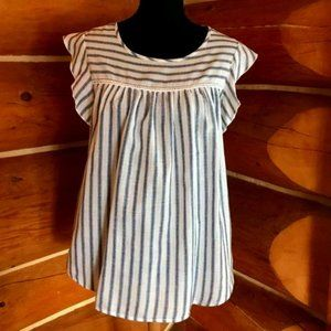 Mandee 100% Cotton Size Large Flowy Blouse